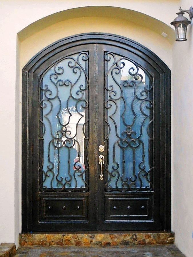 China Luxury Design Round Top Wrought Iron Entry Doors With Glass