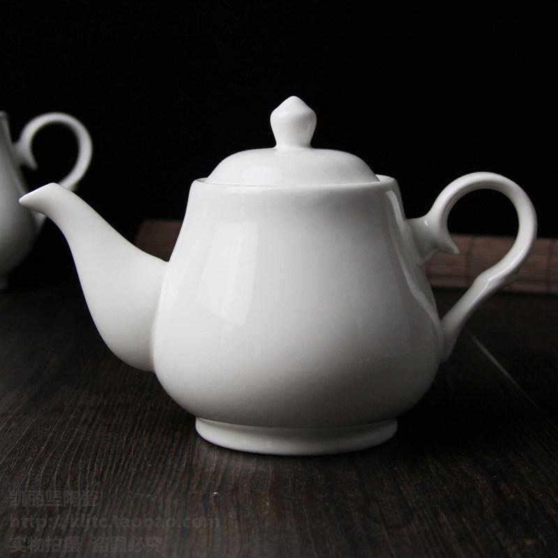 China Pure White Ceramic Teapot Porcelain Coffee Pot Gift