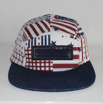 b39447b56 [Hot Item] Fashion The Star-Spangled Banner Camper Cap with Black Leather  Logo
