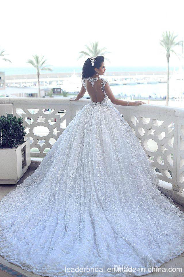 China Arabic Bridal Ball Gown Lace Flowers Luxury Crystal Wedding ...