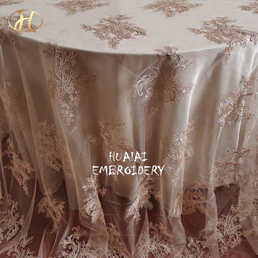 China Romanian Champagne French Linen Sheer Embroidered Round Table Cloth Overlay For Banquet Events Photos Pictures Made In Com