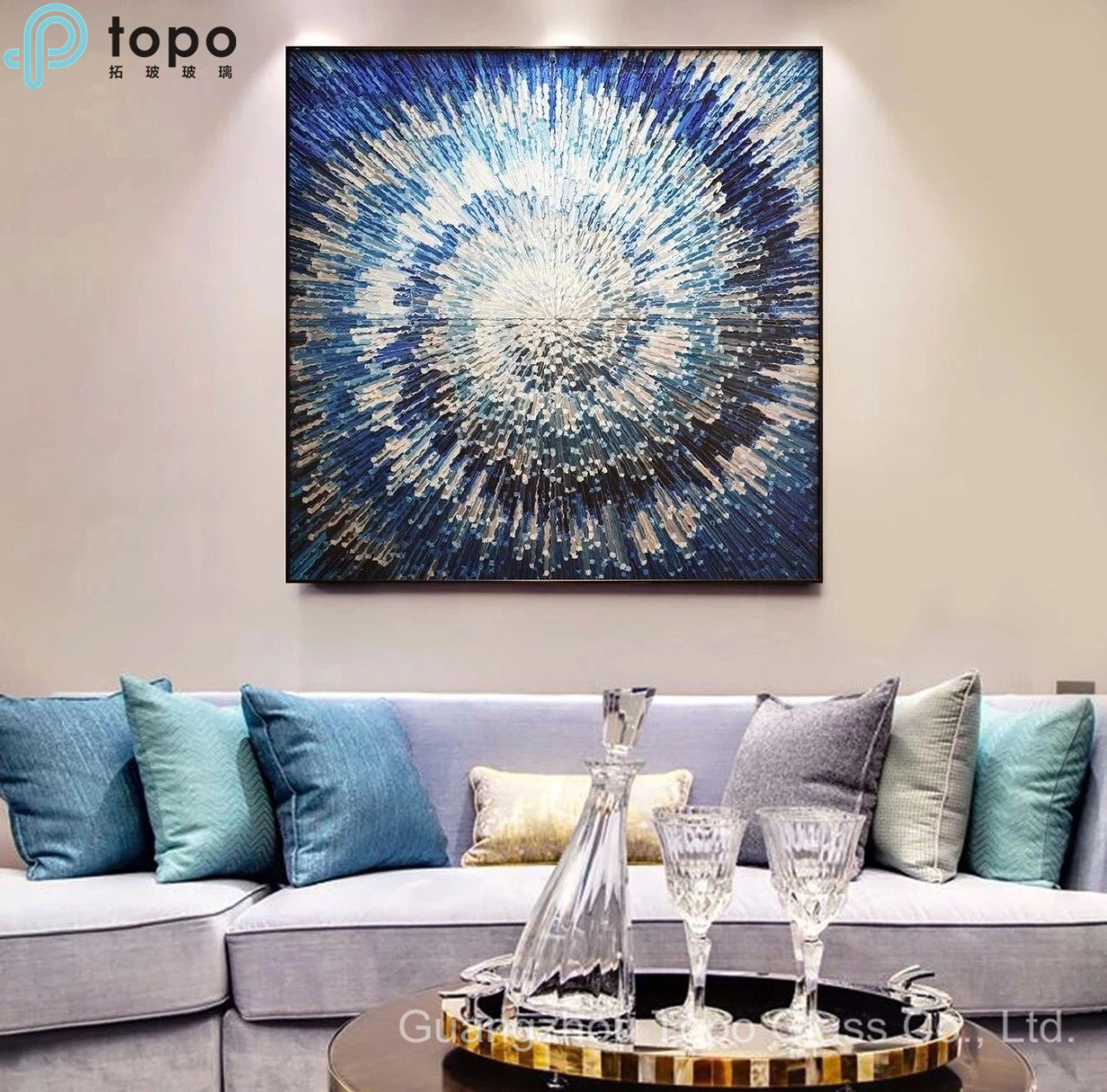 China Abstract Art Glass Painting, Modern Art Pictures For Living Room