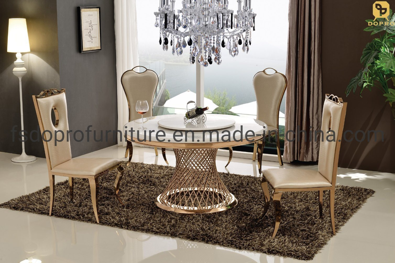 Bird Nest Cheap Price Marble Top Tables and PU Chairs Dining Room Furniture  Dining Table Set D9