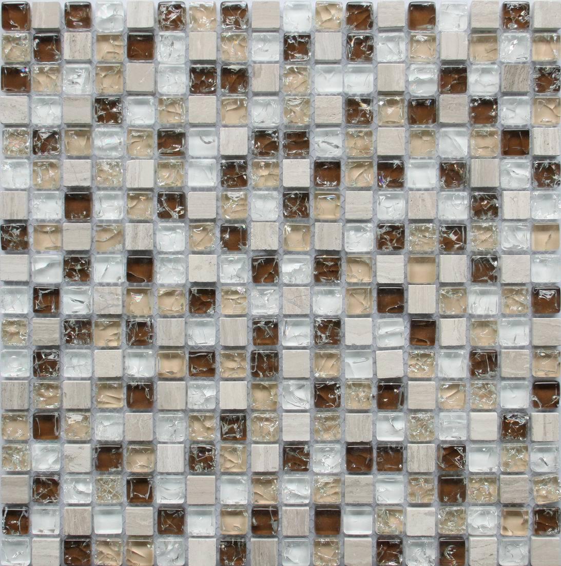 - China Cheap Price Kitchen Backsplash Glass Mix Stone Mosaic Tile