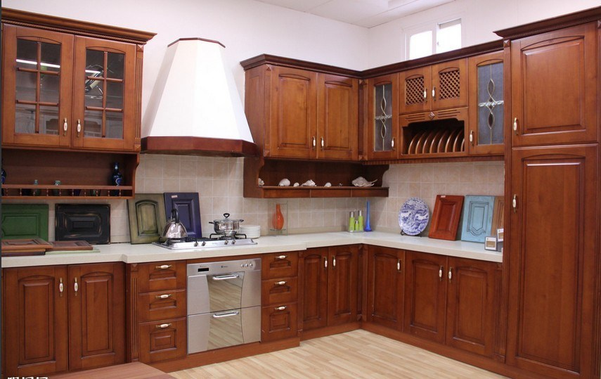 China 2015 new mdf teak wood kitchen cabinet manufacture for Kitchen set kayu