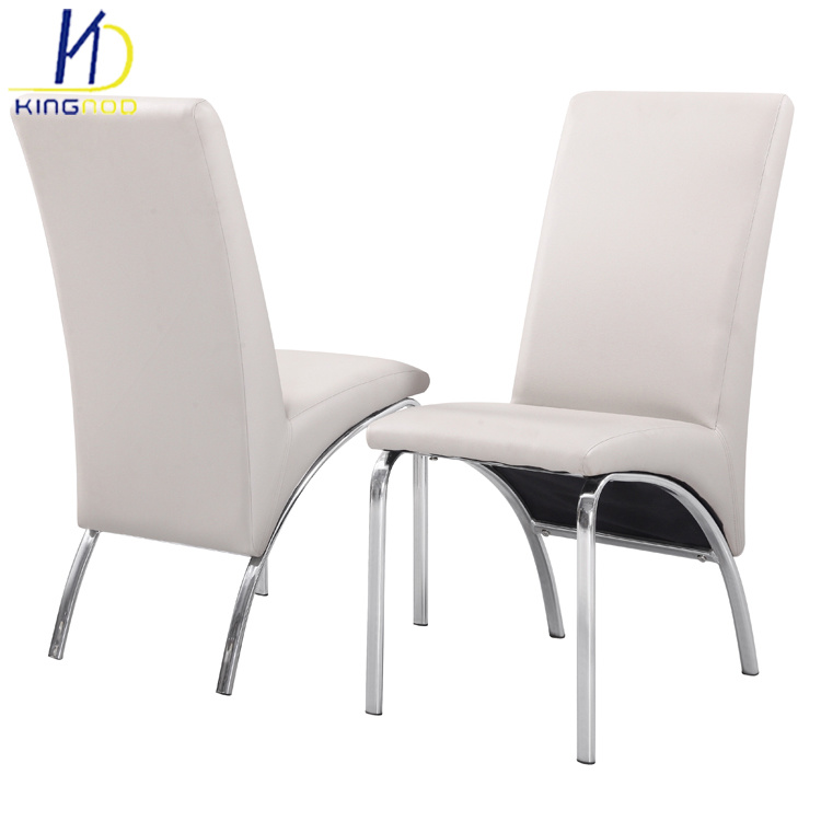 White Leather Chrome Dining Chairs