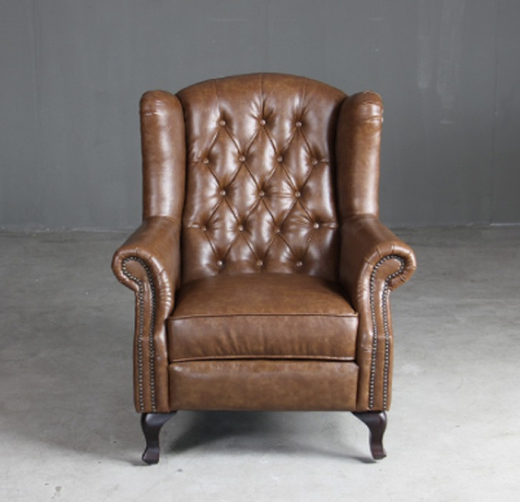 [Hot Item] Chesterfield Queen Anne Wingback Armchair High Back Leather Sofa  Chair