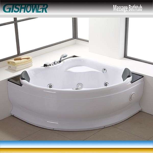 China Small Corner Double Jacuzzi Whirlpool Bathtub Kf