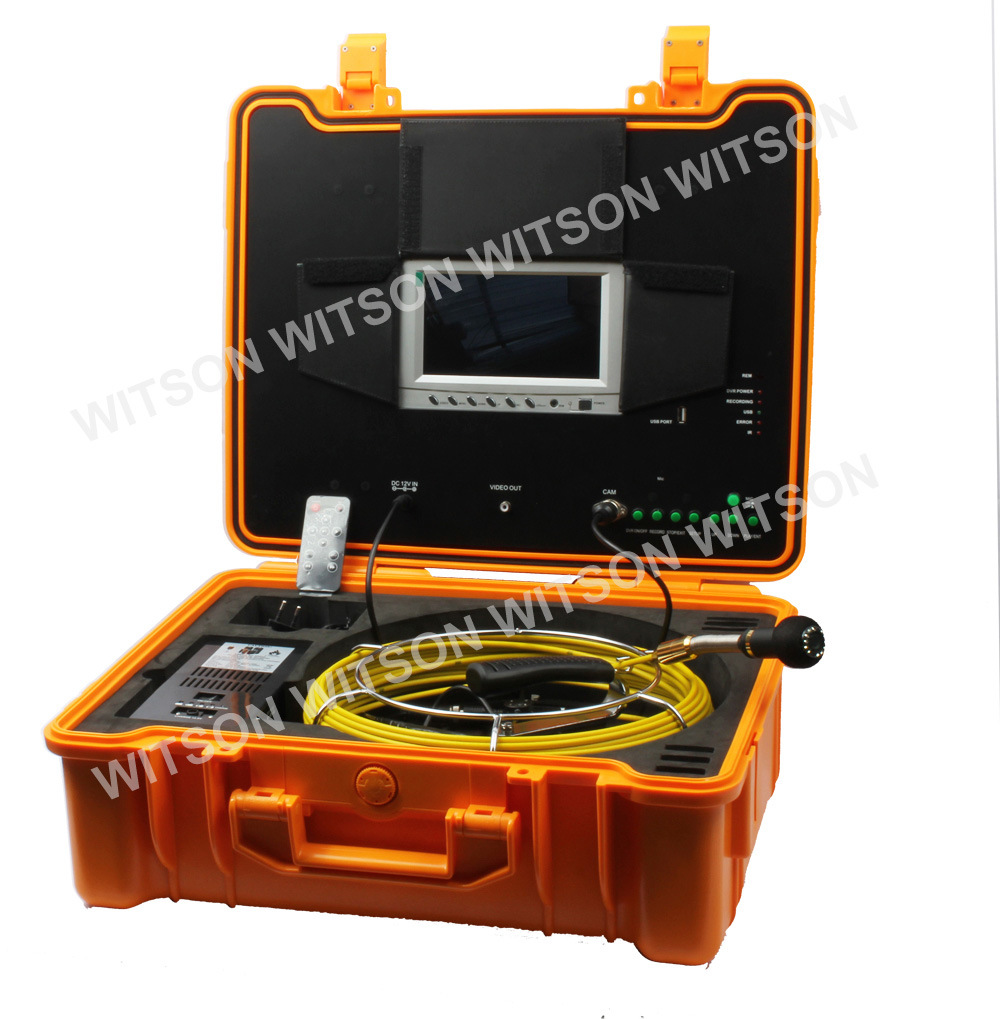 Witson Sewer Pipe Inspection Camera with Push Rod Wheel 30m Fiberglass Cable