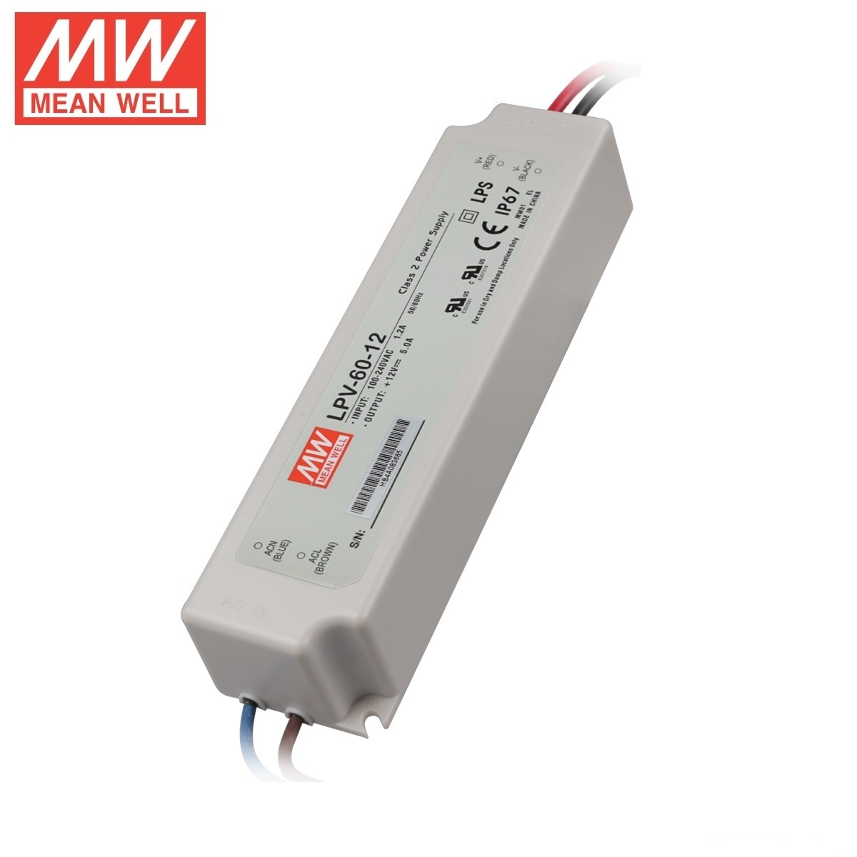 Waterproof Meanwell Lpv-60 12V IP67 60W LED Power Supply