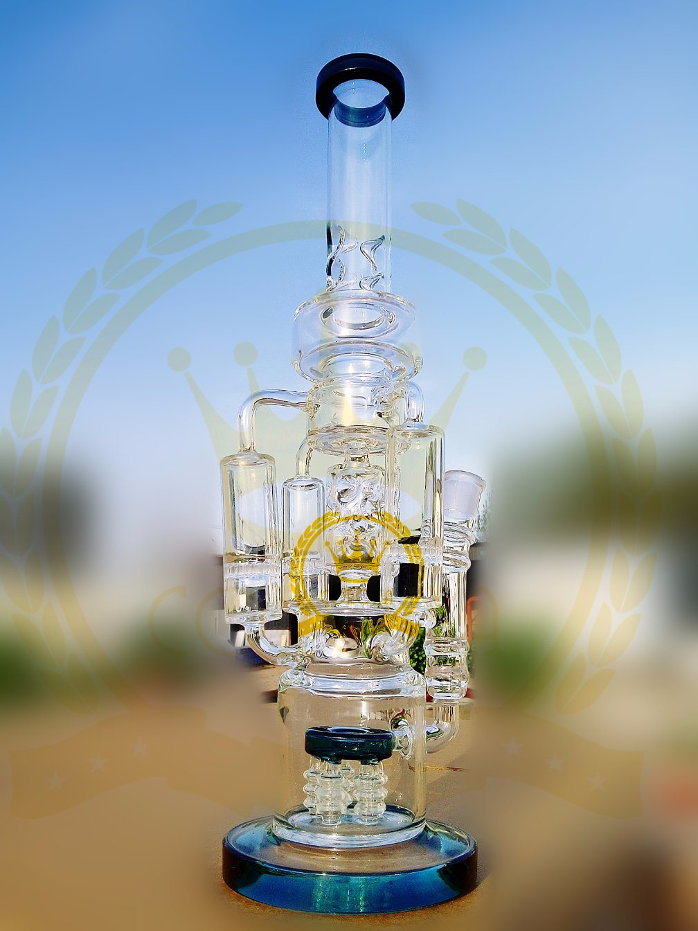 High Quality Recycler Glass Water Pipe with Black Neck Smoking Pipe