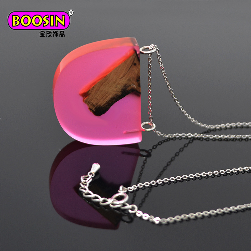 2017 Fashion Women Custom 925 Sterling Silver Chain Jewelry Wood Pendant Necklace pictures & photos