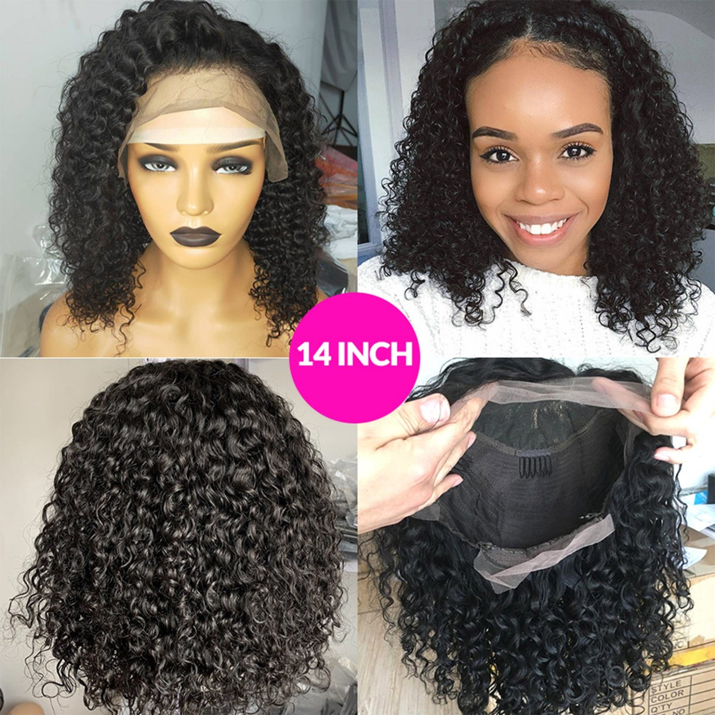 China Short Bob Lace Frontal Wigs 150 Density Deep Curly Lace Front Human Hair Wig 14inch Photos Pictures Made In China Com