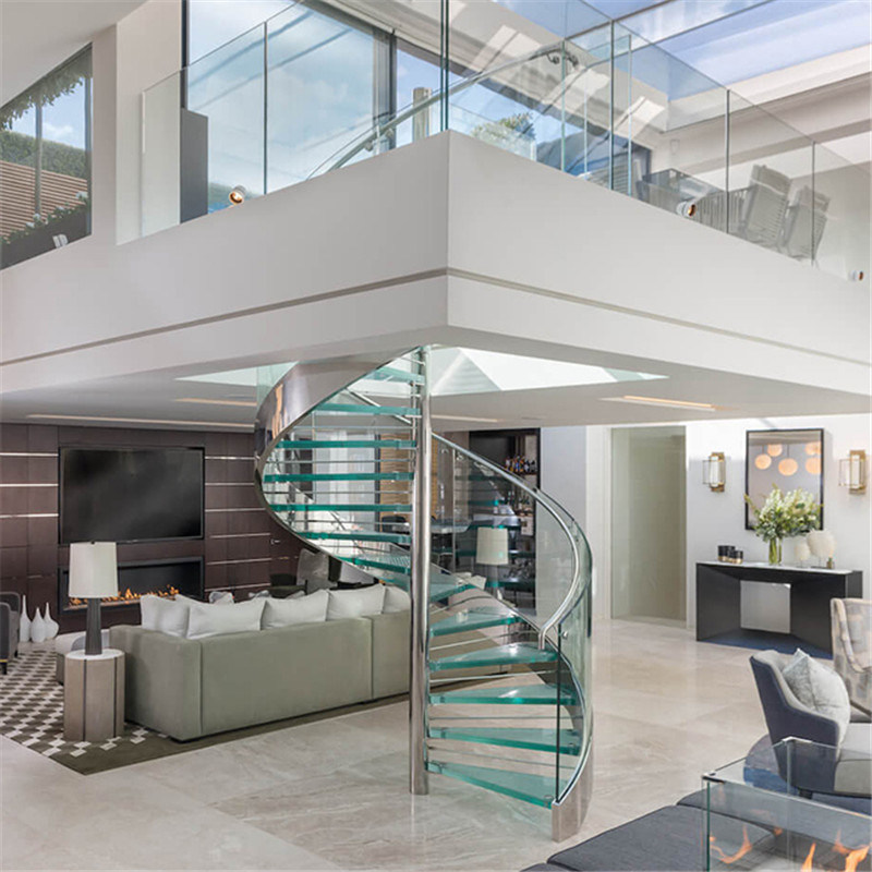 Clear Float Glass Spiral Staircase With Stainless Steel Center Beam