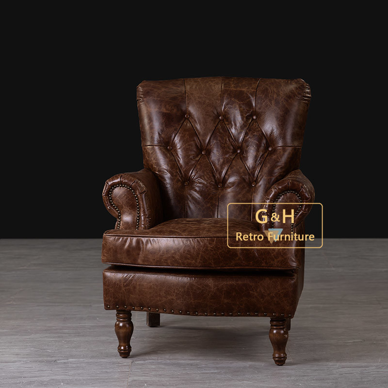 China American Style Antique Full Real Leather Armchair ...