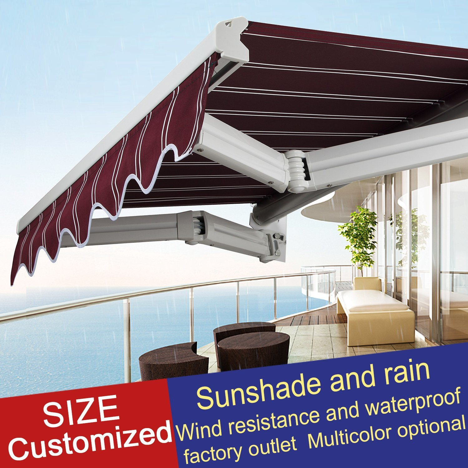 China Outdoor Remote Control Retractable Awning Sunshade