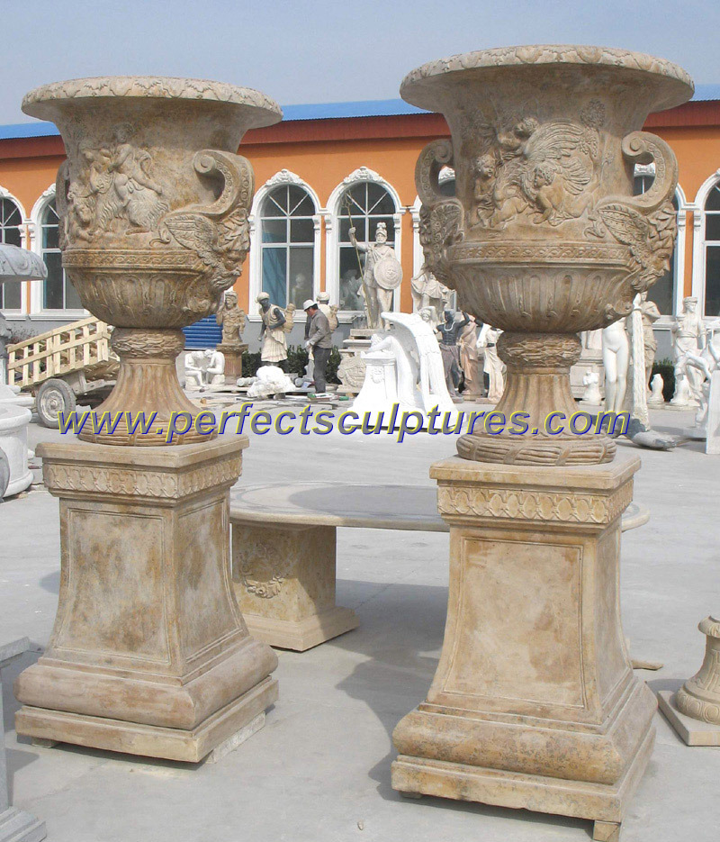 Stone Marble Flower Planter for Garden Stone Sculpture (QFP252)