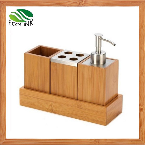 china bamboo bathroom accessories bamboo soap dispensor bathroom set - china bamboo bathroom set