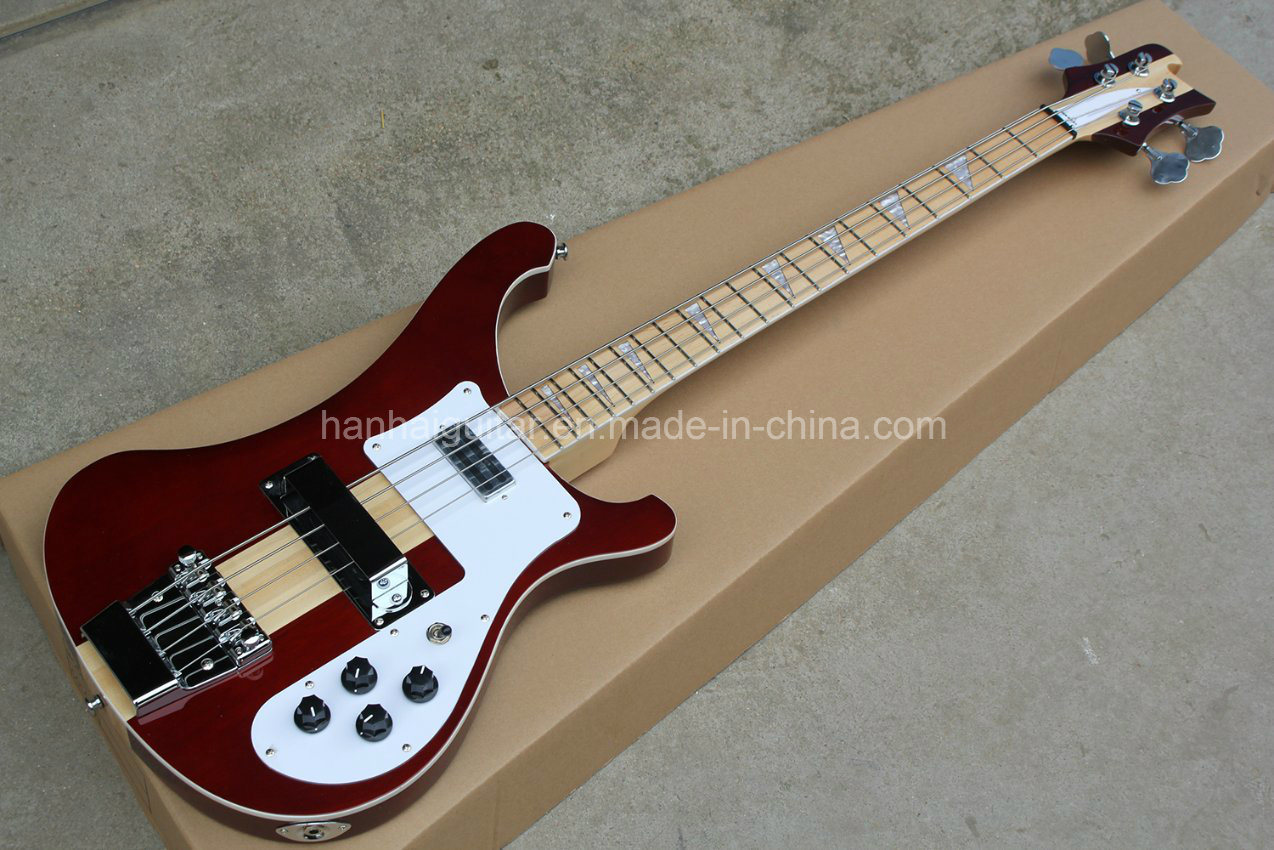 Hanhai 4 Strings Wine Red Electric Bass with Neck-Through Body