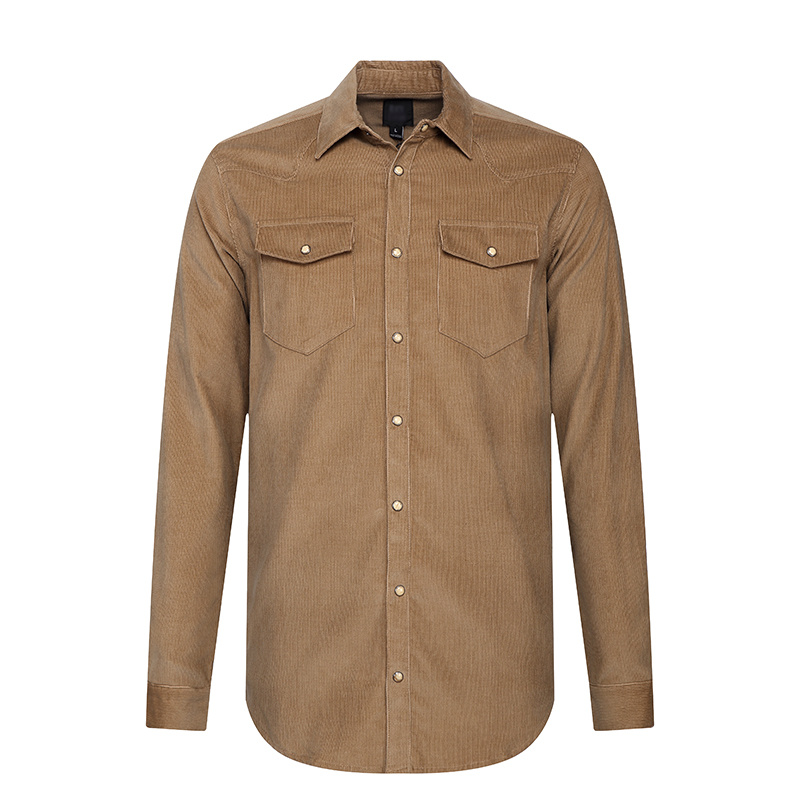 Brown Corduroy Men`S Shirt