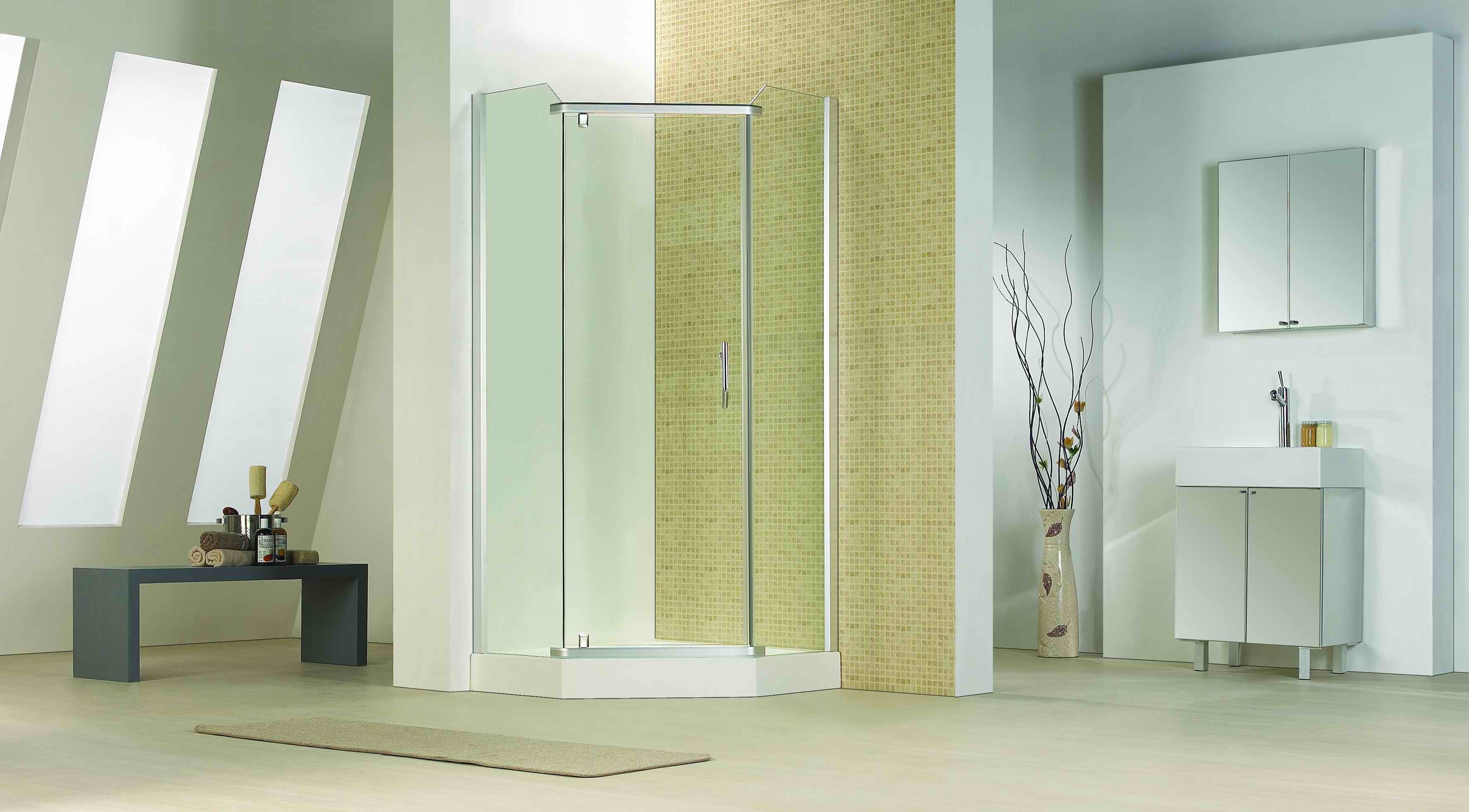 Bathroom 8mm Glass Diamond Pivot Door Shower Door Enclosure