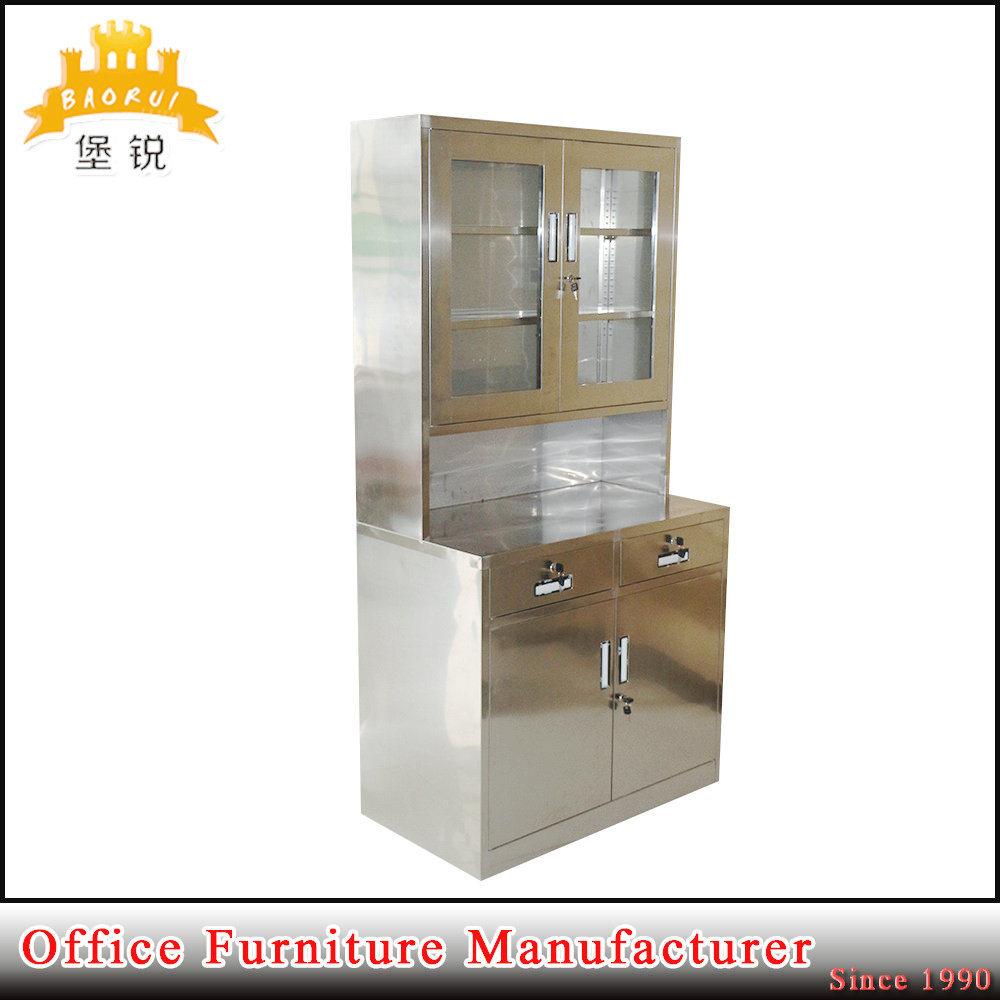 China Stainless Steel Glass Door Hospital Cupboard Metal Medicine