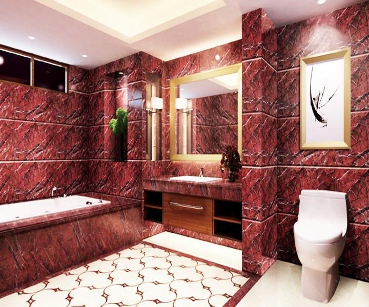 Red Marble Design Ceramic Floor
