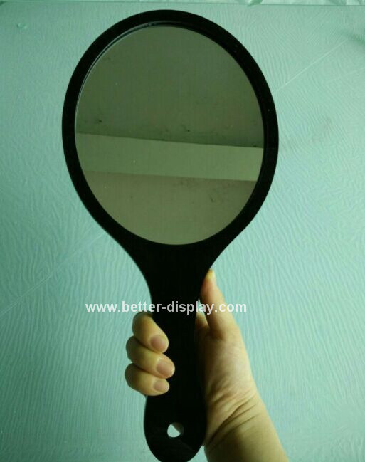 Black Acrylic Hand Make up Mirror with Logo