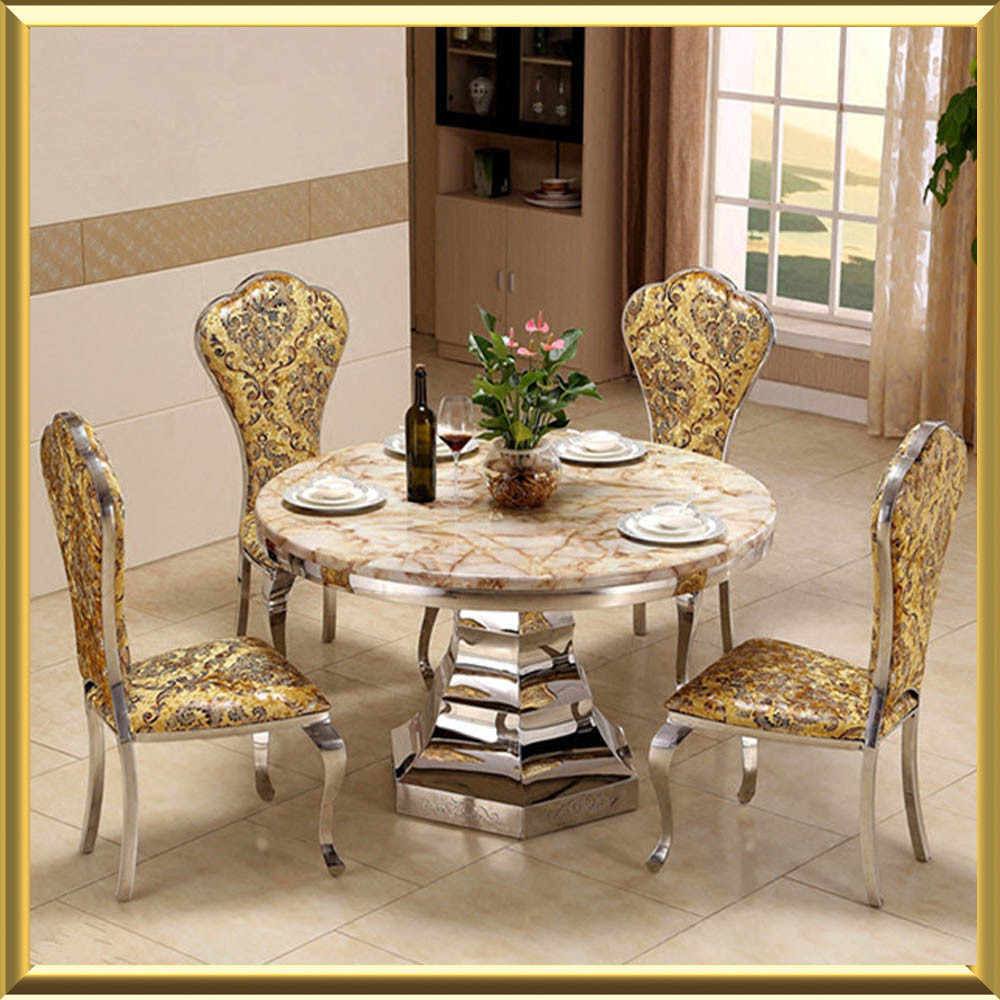 [Hot Item] New Model for Hotel Wedding Glass Dining Table Set with Chairs
