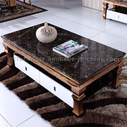 Luxury Black Marble Rose Golden Stainless Steel Coffee Table with Drawer pictures & photos