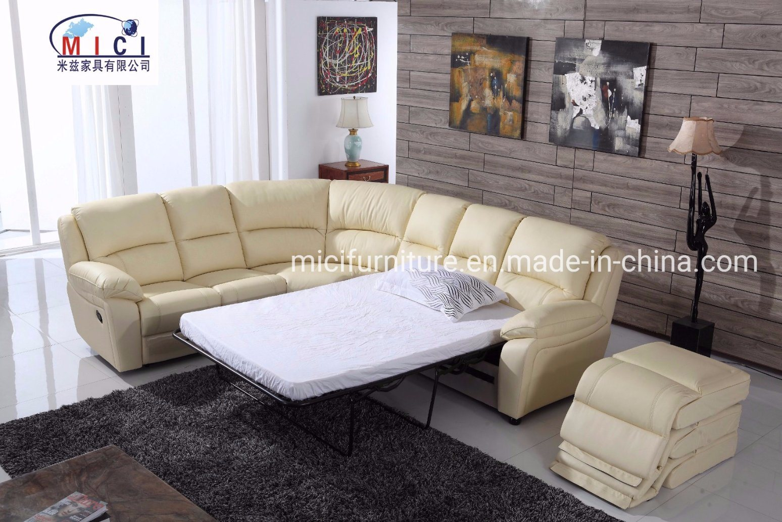 Corner Recliner Leather Sofa Bed