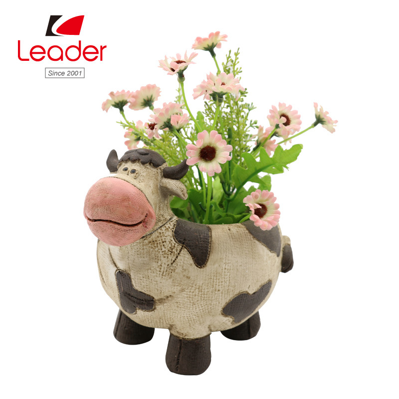 Polyresin Farm Cow Figurine Flowerpots for Home and Garden Decoration pictures & photos