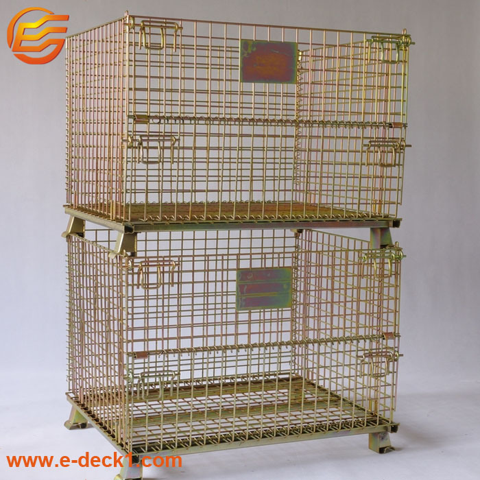 Warehouse Industry Foldable Galvanized Metal Stacking Wire Mesh Storage Box pictures & photos