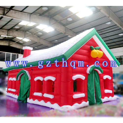 China funny christmas inflatable santa house outdoor