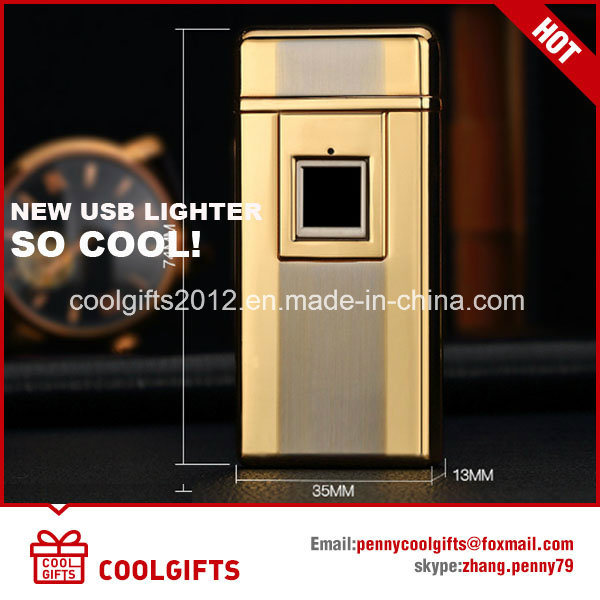High Quality Metal Fingerprint electric USB Charged Dual Arc Lighter pictures & photos