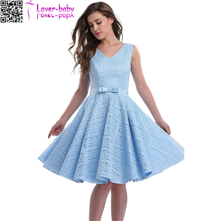 Hot Item Lace Sleeveless Wedding Guest Knee Length Dress L36201