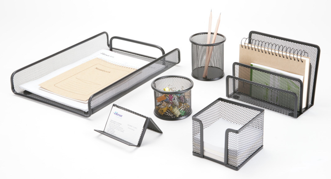 China Metal Mesh Stationery Office Set Desk Accessories