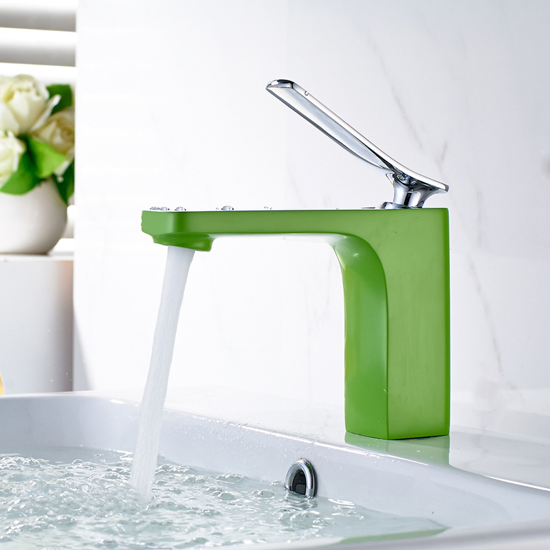 China Green Painting Basin Mixer Lavatory Faucets Wash Basin Water ...