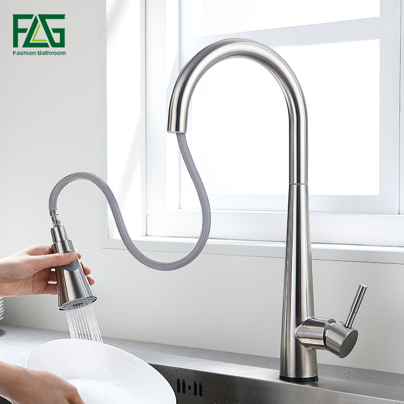China Flg New Design Stainless Steel Kitchen Faucets With Pull Out