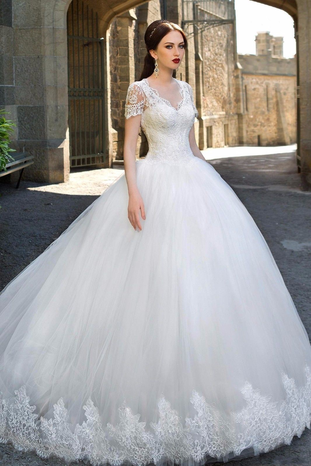 China Short Sleeves Bridal Ball Gowns Tulle Puffy Wedding Dress ...