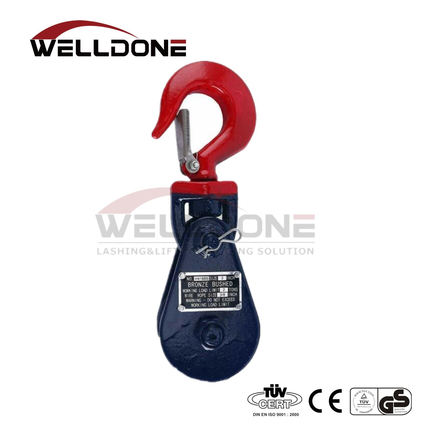0.5 Ton 75MM Blue Painted Snatch Block with Swivel Eye