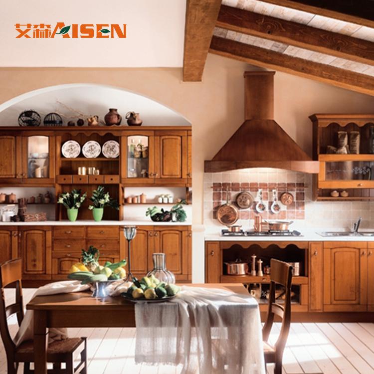 China Custom Made Kitchen Cabinets Solid Wood Furniture Set
