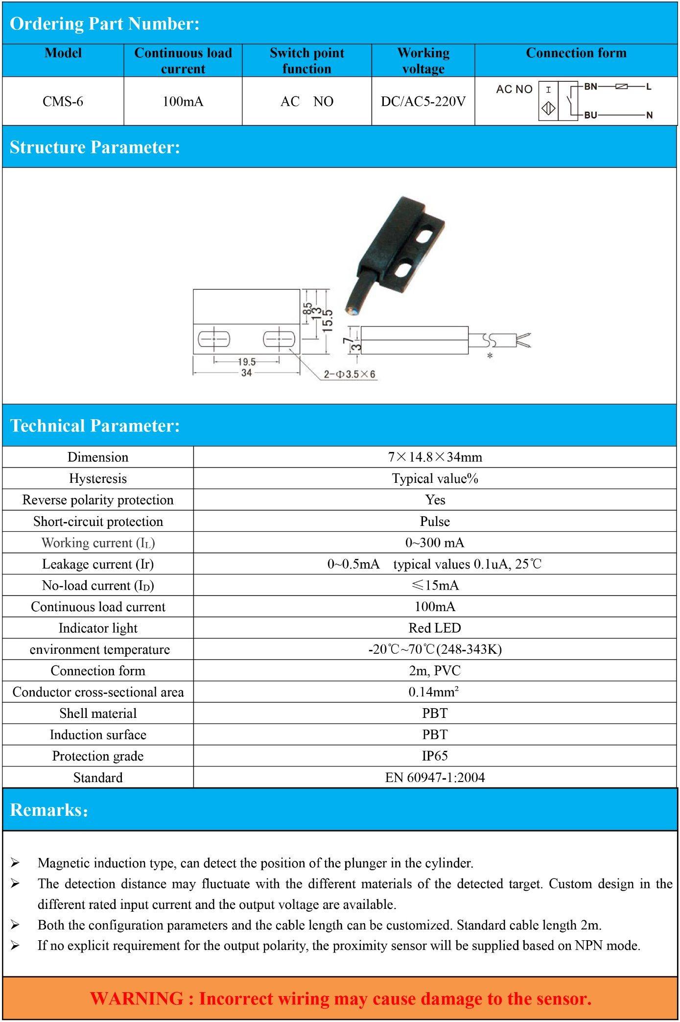 Magnetic Proximity Sensor Continuous Load Current 100mA DC/AC 5-220V