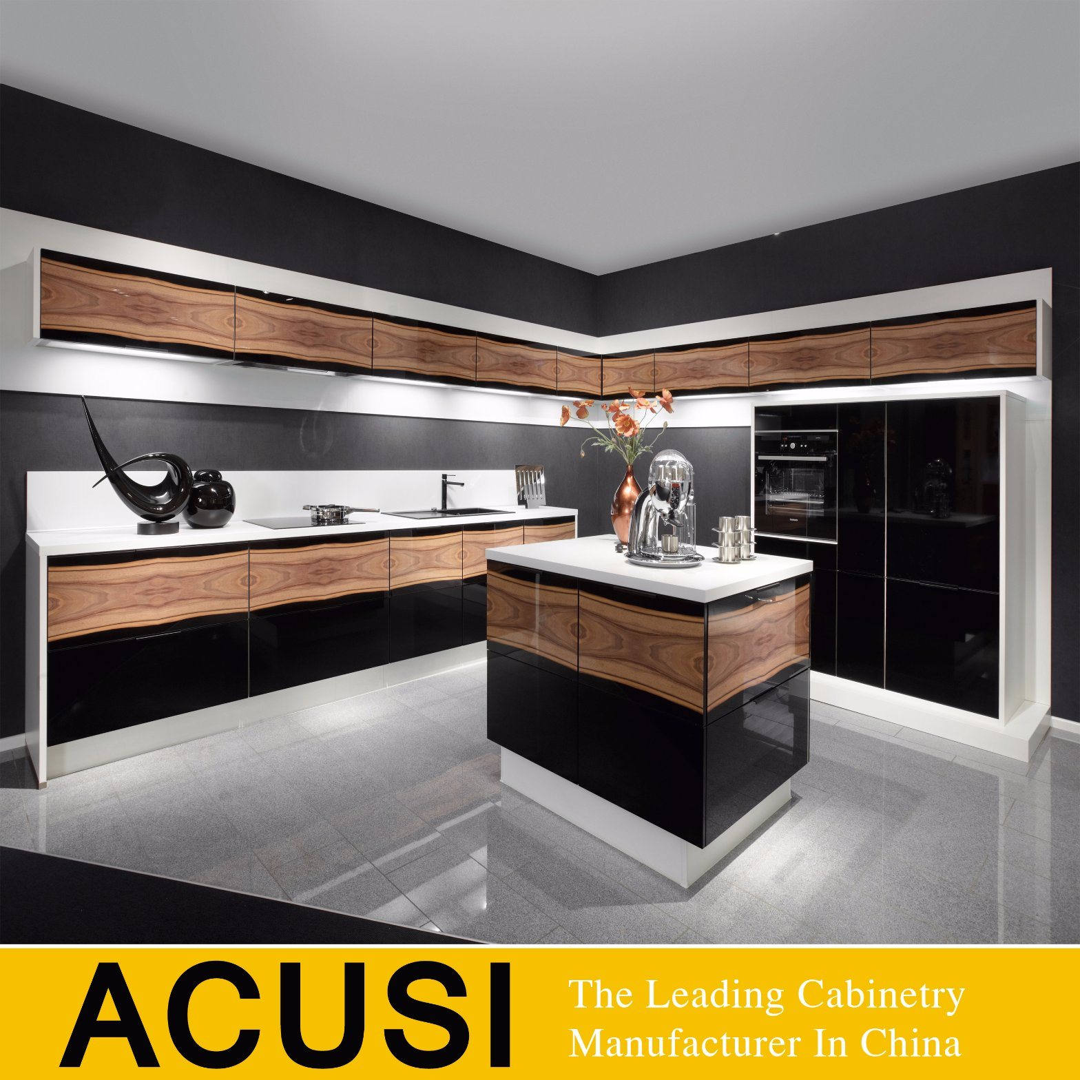 China High End Wood Veneer And Gloss Black Color Paint Kitchen Cabinet Acs2 L237 China Kitchen Cabinets Kitchen Furniture