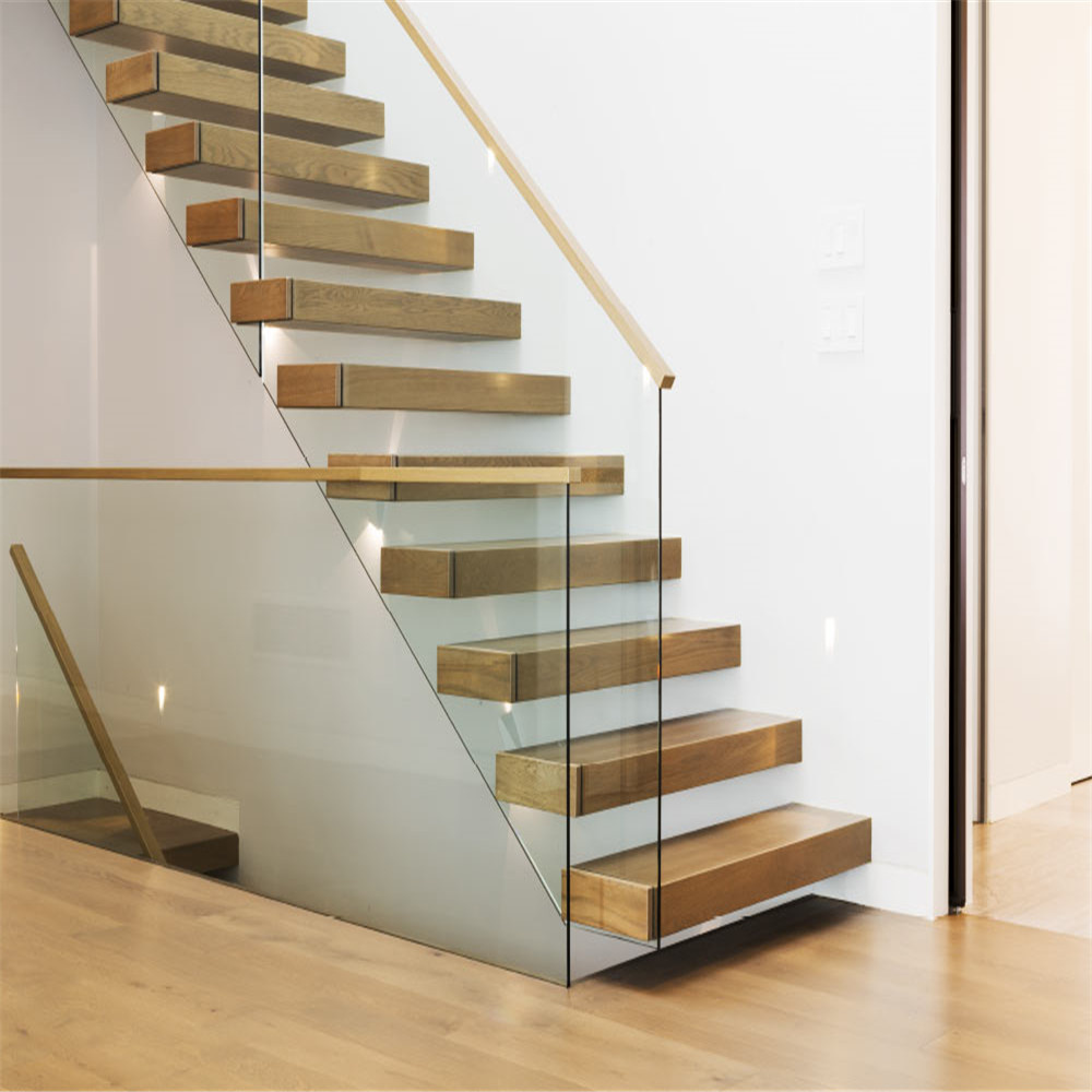 China Modern Floating Staircase Manufactures Straight Glass Staircase With Staircase Glass Panel China Staircase Manufacturers Floating Staircase