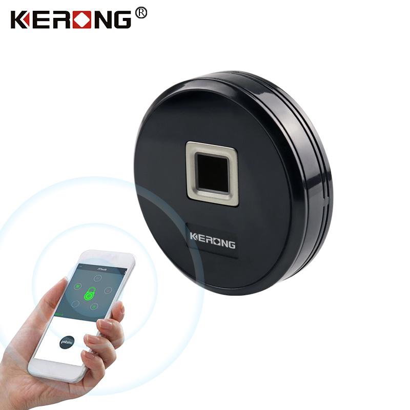[Hot Item] KERONG High Security Small Circular Fingerprint Panel Cabinet  Lock Bluetooth Locker Lock for File Drawer
