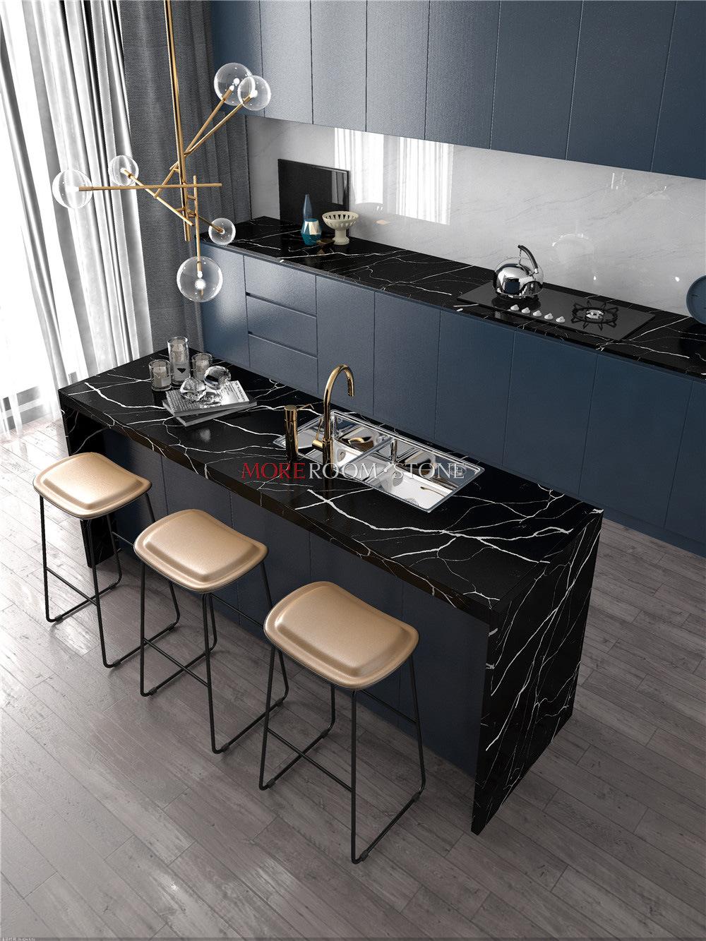 Black Marble Look Quartz Kitchen Island