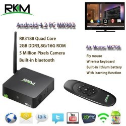 [Hot Item] Rkm Mk902 Quad Core Android 4 4 Rk3188 2g DDR3 8g ROM Bluetooth  Build in Camera & Microphone Android TV Box [Mk902/8g+Mk705]