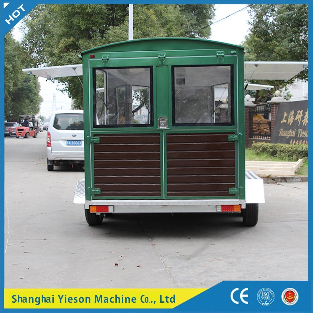 Ys Fw450 Hot Sale Wooden Trailer Mobile Coffee Cart Fast Food Car