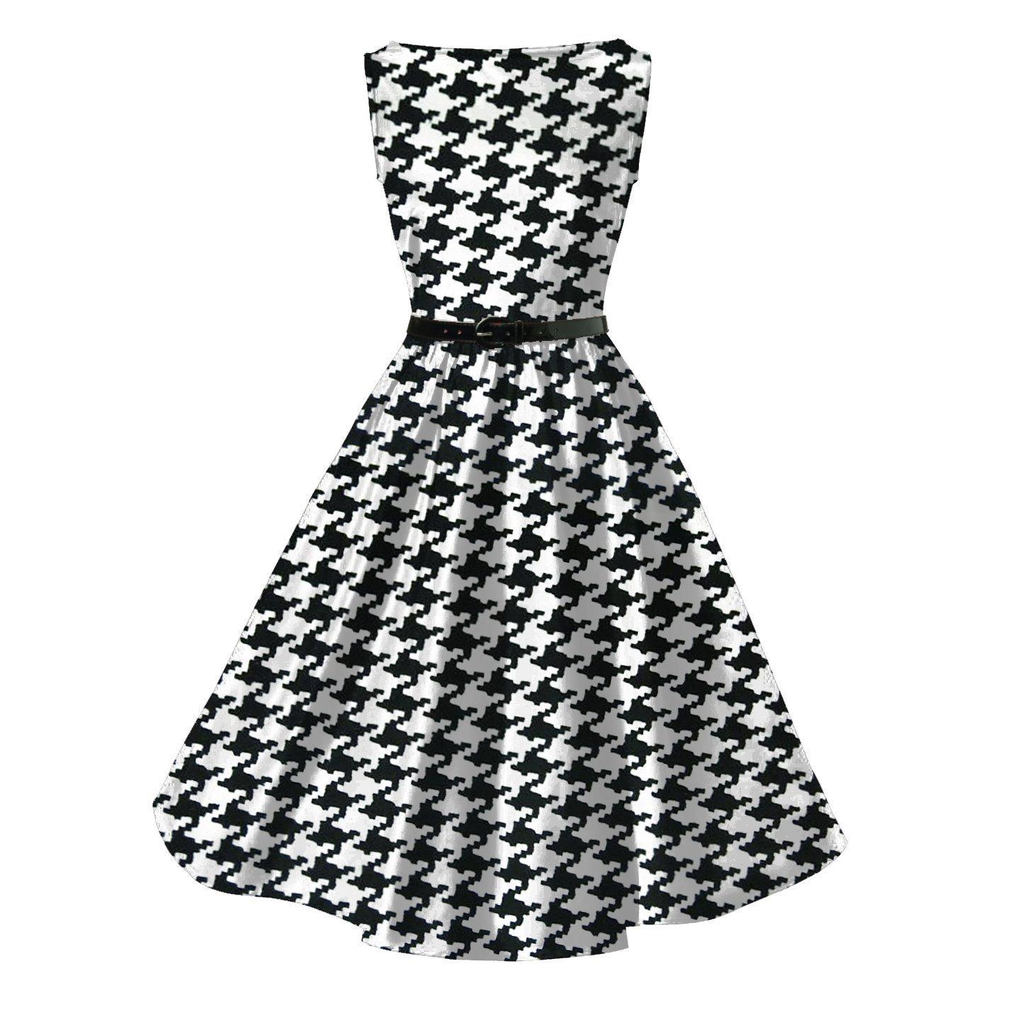China Rockabilly Houndstooth Printing Audrey Hepburn Plus Size ...